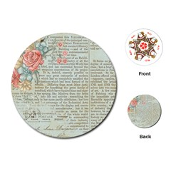Vintage Floral Background Paper Playing Cards (round)