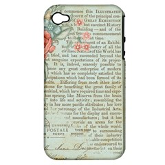 Vintage Floral Background Paper Apple Iphone 4/4s Hardshell Case (pc+silicone)