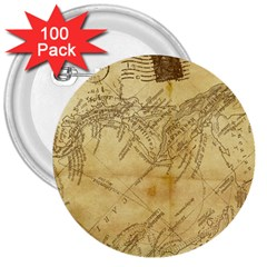 Vintage Map Background Paper 3  Buttons (100 Pack)