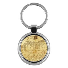 Vintage Map Background Paper Key Chains (round)
