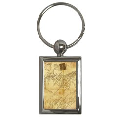Vintage Map Background Paper Key Chains (rectangle)