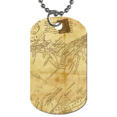 Vintage Map Background Paper Dog Tag (two Sides)