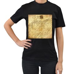 Vintage Map Background Paper Women s T Shirt (black) (two Sided)