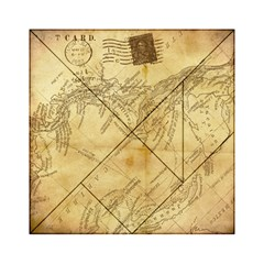 Vintage Map Background Paper Acrylic Tangram Puzzle (6  X 6 )