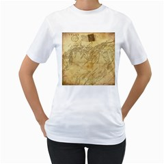 Vintage Map Background Paper Women s T Shirt (white)