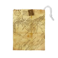 Vintage Map Background Paper Drawstring Pouches (large)