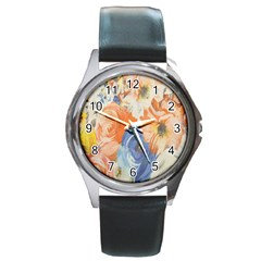 Texture Fabric Textile Detail Round Metal Watch
