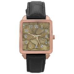 Brick Wall Stone Kennedy Rose Gold Leather Watch