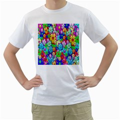 Flowers Ornament Decoration Men s T Shirt (white) (two Sided)