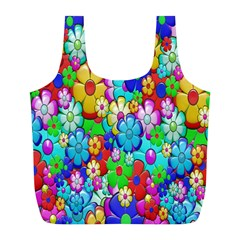 Flowers Ornament Decoration Full Print Recycle Bags (l)