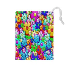 Flowers Ornament Decoration Drawstring Pouches (large)