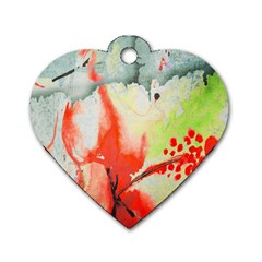 Fabric Texture Softness Textile Dog Tag Heart (one Side)