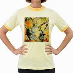 Flower Texture Pattern Fabric Women s Fitted Ringer T Shirts
