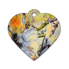 Flower Texture Pattern Fabric Dog Tag Heart (two Sides)