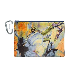 Flower Texture Pattern Fabric Canvas Cosmetic Bag (m)