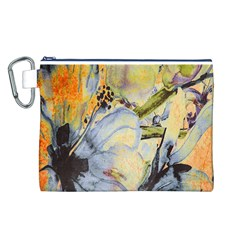 Flower Texture Pattern Fabric Canvas Cosmetic Bag (l)