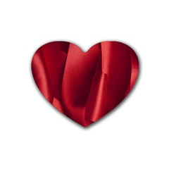 Red Fabric Textile Macro Detail Rubber Coaster (heart)