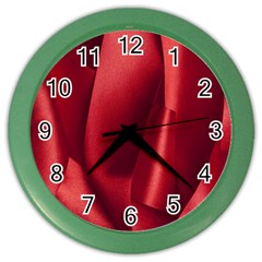 Red Fabric Textile Macro Detail Color Wall Clocks