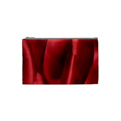 Red Fabric Textile Macro Detail Cosmetic Bag (small)