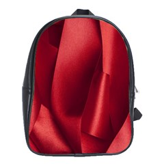 Red Fabric Textile Macro Detail School Bag (large)