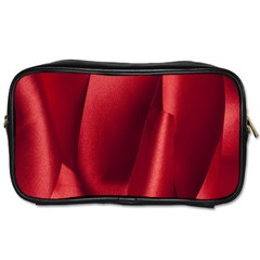 Red Fabric Textile Macro Detail Toiletries Bags 2 Side