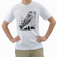 Animal Bird Forest Nature Owl Men s T Shirt (white) (two Sided)