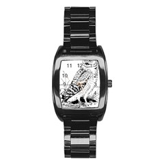 Animal Bird Forest Nature Owl Stainless Steel Barrel Watch