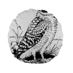 Animal Bird Forest Nature Owl Standard 15  Premium Flano Round Cushions