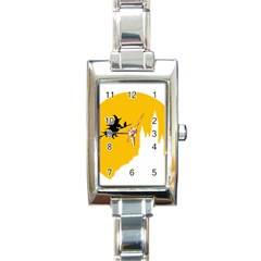 Castle Cat Evil Female Fictional Rectangle Italian Charm Watch