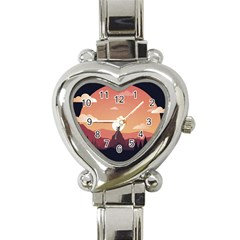Design Art Hill Hut Landscape Heart Italian Charm Watch