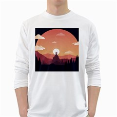 Design Art Hill Hut Landscape White Long Sleeve T Shirts