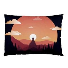 Design Art Hill Hut Landscape Pillow Case (two Sides)