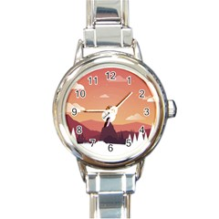 Design Art Hill Hut Landscape Round Italian Charm Watch