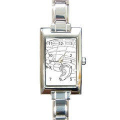 Brain Chart Diagram Face Fringe Rectangle Italian Charm Watch