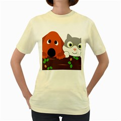 Baby Decoration Cat Dog Stuff Women s Yellow T Shirt