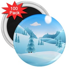 Landscape Winter Ice Cold Xmas 3  Magnets (100 Pack)