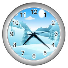Landscape Winter Ice Cold Xmas Wall Clocks (silver)