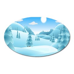 Landscape Winter Ice Cold Xmas Oval Magnet