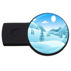 Landscape Winter Ice Cold Xmas Usb Flash Drive Round (2 Gb)