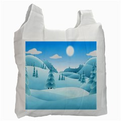 Landscape Winter Ice Cold Xmas Recycle Bag (two Side)