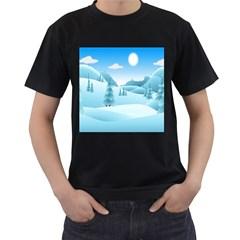 Landscape Winter Ice Cold Xmas Men s T Shirt (black)