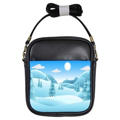 Landscape Winter Ice Cold Xmas Girls Sling Bags