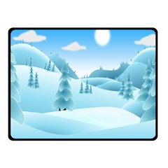 Landscape Winter Ice Cold Xmas Fleece Blanket (small)