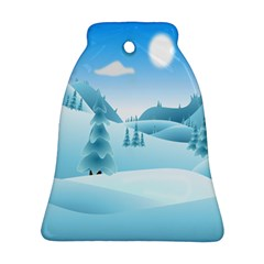 Landscape Winter Ice Cold Xmas Bell Ornament (two Sides)