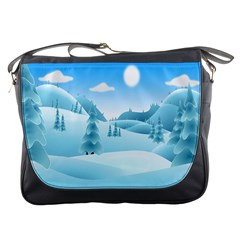 Landscape Winter Ice Cold Xmas Messenger Bags