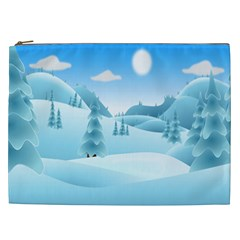Landscape Winter Ice Cold Xmas Cosmetic Bag (xxl)