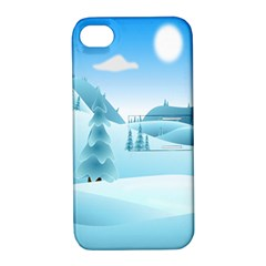 Landscape Winter Ice Cold Xmas Apple Iphone 4/4s Hardshell Case With Stand