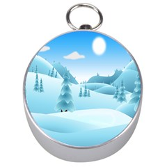 Landscape Winter Ice Cold Xmas Silver Compasses