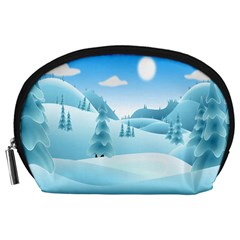 Landscape Winter Ice Cold Xmas Accessory Pouches (large)