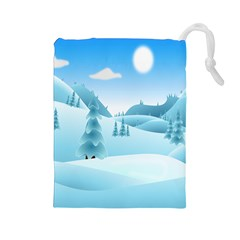 Landscape Winter Ice Cold Xmas Drawstring Pouches (large)